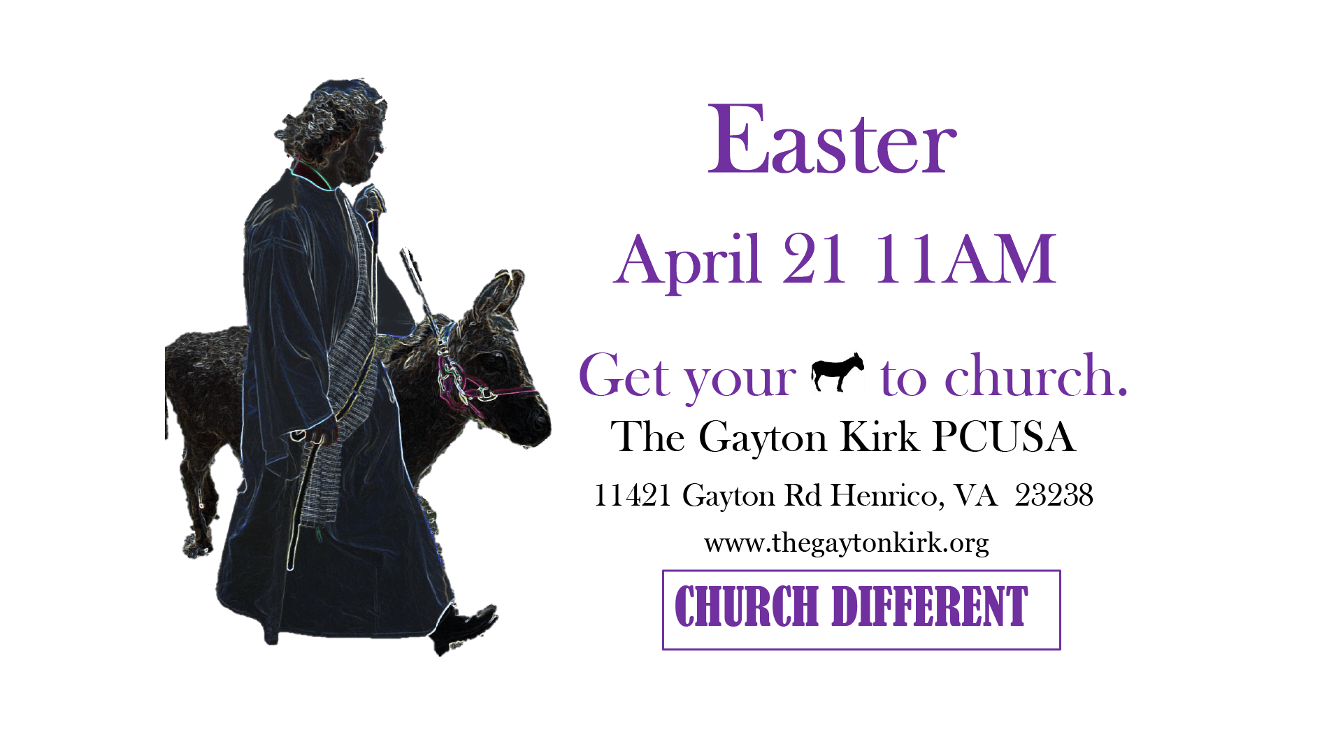 Poster for Easter 2019 at The Gayton Kirk Presbyterian Church USA in Richmond / Henrico